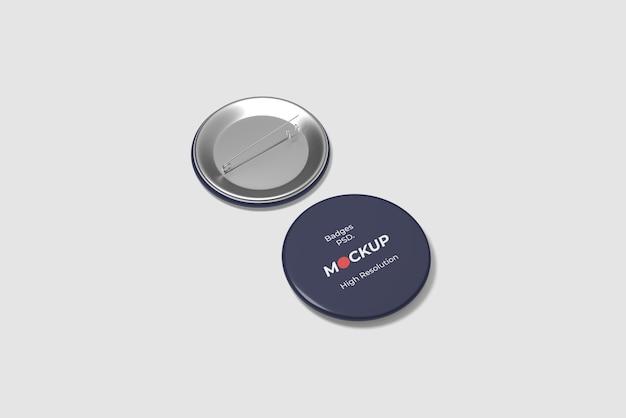 Pin / badge mockup hoge hoekweergave
