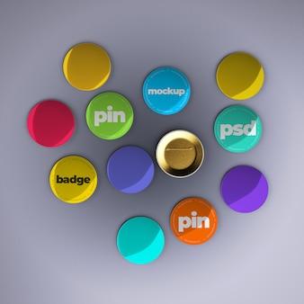 Pin mockups met bewerkbaar ontwerp en veranderlijke kleuren