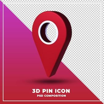 Pin pictogram geïsoleerd 3d-ontwerp rendering