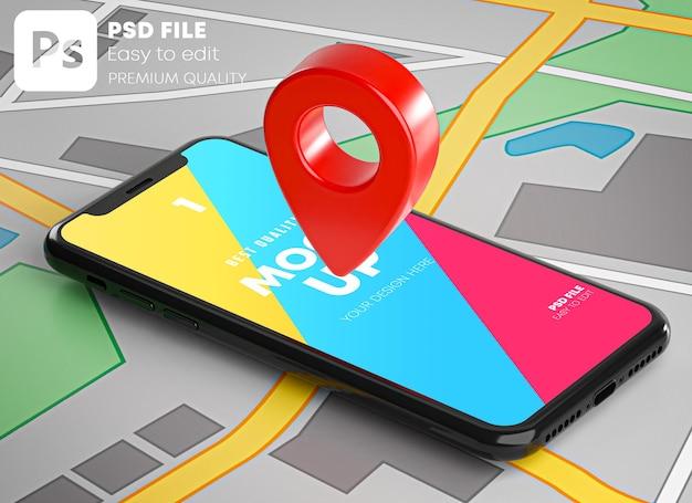 Pin rojo de gps en smartphone y maqueta de mapa en representación 3d