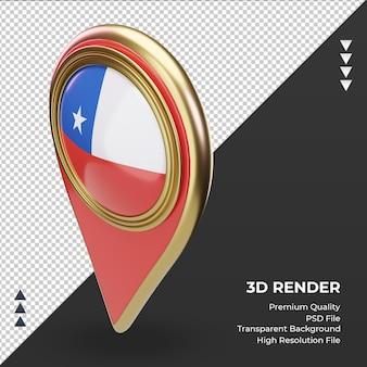 Pin de ubicación 3d bandera de chile renderizado vista derecha