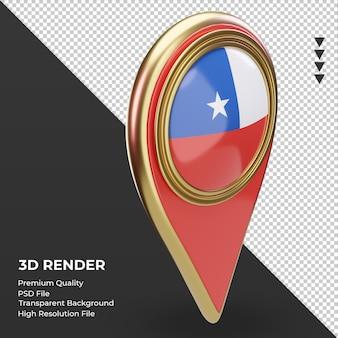 Pin de ubicación 3d bandera de chile renderizado vista izquierda