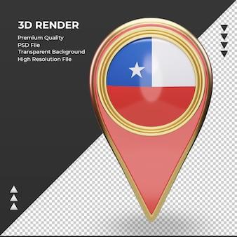 Pin de ubicación 3d vista frontal de representación de la bandera de chile