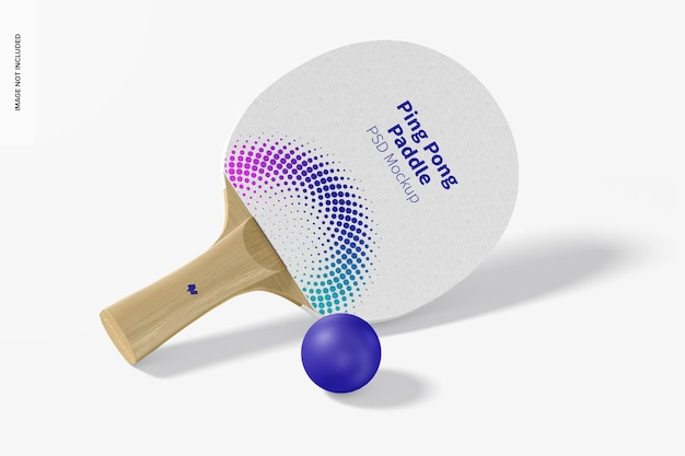 Ping pong paddle mockup, perspectiefweergave