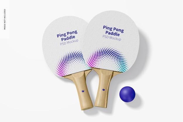 Ping pong paddles mockup, bovenaanzicht