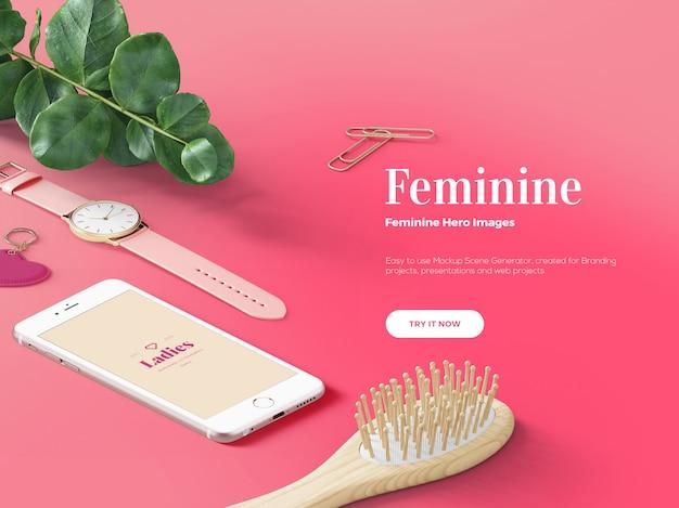 Pink feminine hero / header custom scene