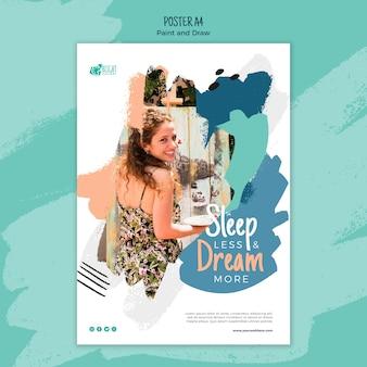Pintar y dibujar diseño de póster