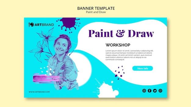 Pintar y dibujar plantilla de banner de taller