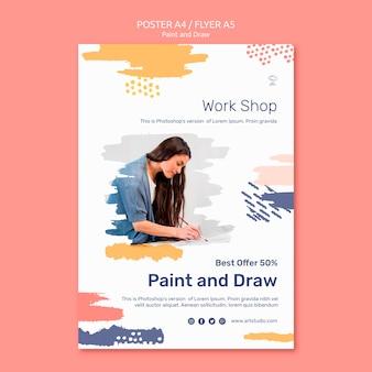 Pintar y dibujar plantilla de póster de concepto