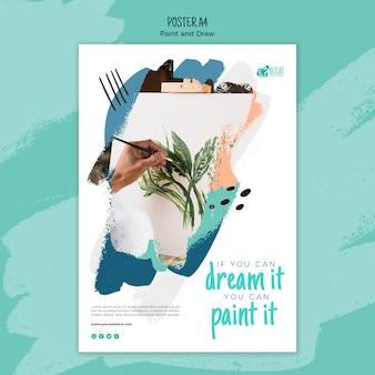 Pintar y dibujar plantilla de póster