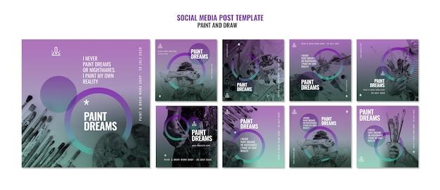 Pintar plantillas de publicaciones de redes sociales de sueños