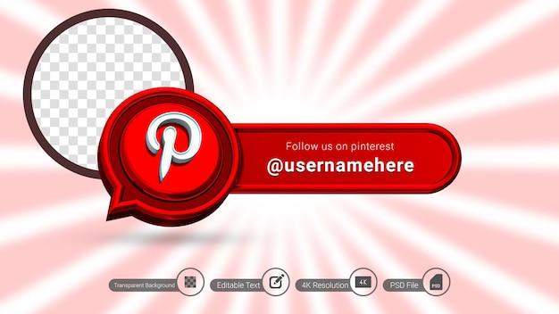 Pinterest 3d-rendering volg ons label geïsoleerd premium psd social media bannerpictogram