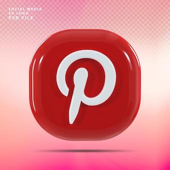 Pinterest logo 3d render luxe