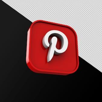 Pinterest-pictogram, applicatie voor sociale media. 3d-weergave premium foto
