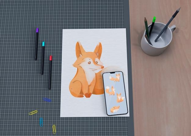 Pintura artística maqueta en la mesa