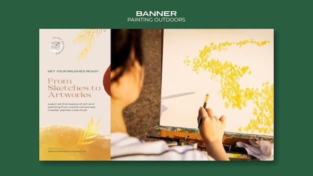 Pintura exterior de banner de plantilla de anuncio