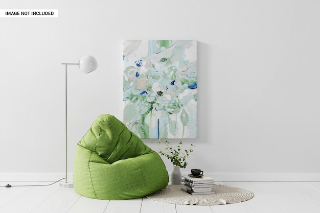 Pintura de lienzo en la pared en la maqueta del lugar de descanso.