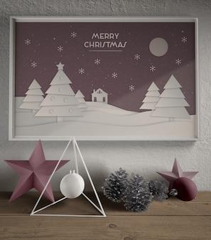 Pintura con maqueta de tema navideño