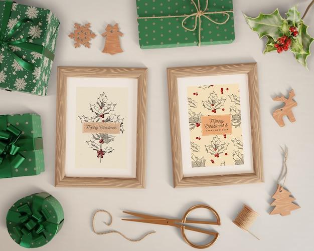 Pinturas con maqueta de tema navideño