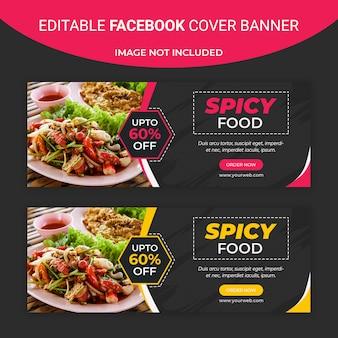 Pittig eten facebook sociale media sjabloon voor spandoek