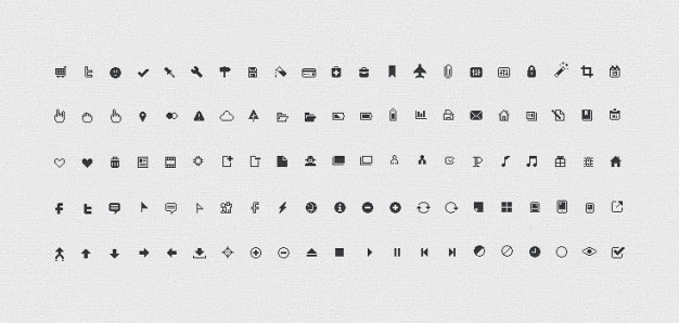 Pixicus icon set: 106 pixel icons perfetta