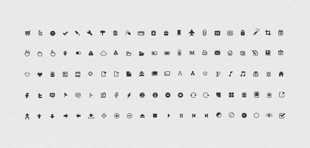 Pixicus icon set: 106 pixel perfect pictogrammen
