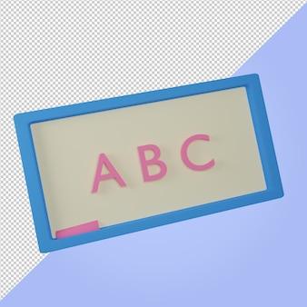 Pizarra, azul, educación, icono, 3d, render