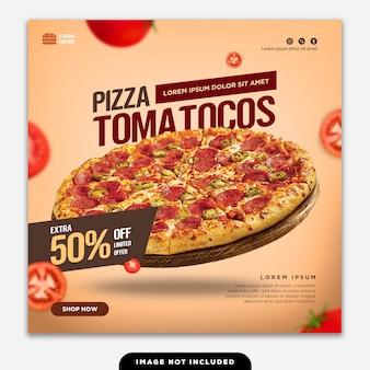 Pizza dell'alimento della posta dell'insegna di media sociali