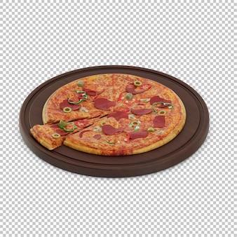 Pizza isométrica tabla de cortar de madera