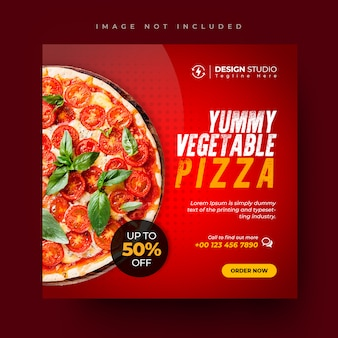 Pizza menu promotie sociale media en instagram post ontwerpsjabloon