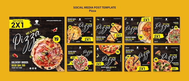 Pizza restaurant social media posts sjabloon