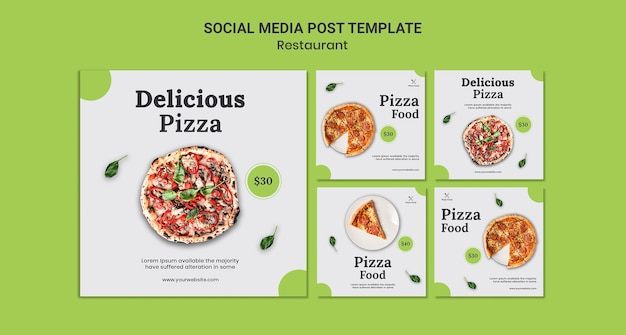 Pizza restaurant sociale media post sjabloon