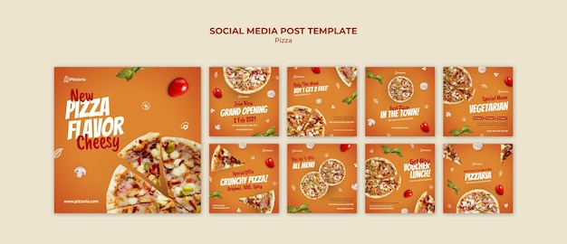 Pizza social media post-sjabloon