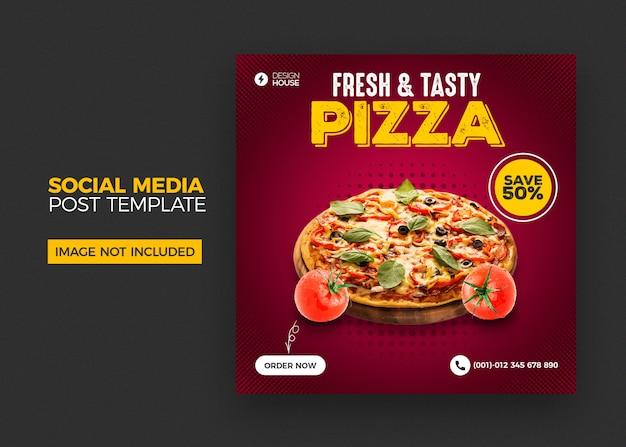 Pizza social media postsjabloon
