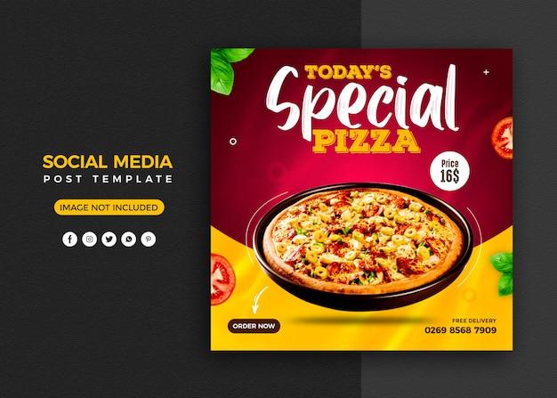 Pizza sociale media promotie en instagram banner post ontwerpsjabloon