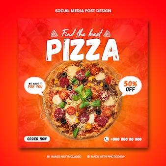 Pizza verkoop social media postsjabloon
