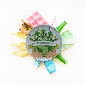 Plaat mockup met wereld milieu dag concept