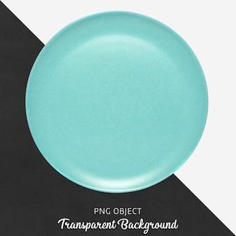 Placa cerámica redonda turquesa sobre fondo transparente.