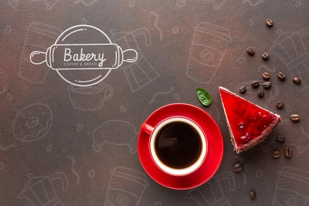 Plakje cake met koffie en mock-up