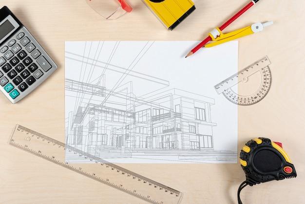 Plan de bosquejo del arquitecto de un nuevo edificio