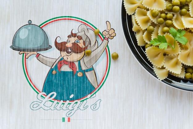 Plana comida italiana con logo de maqueta