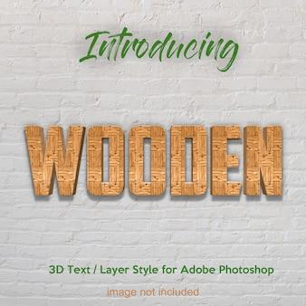 Plancia di legno di legno 3d effetti di testo di stile di livello strutturato photoshop