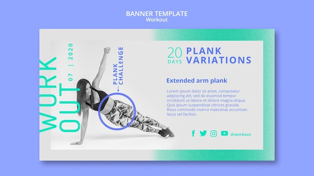 Plank variaties sjabloon voor spandoek