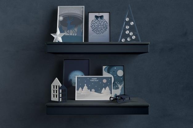Planken met thematische frames voor kerstmis