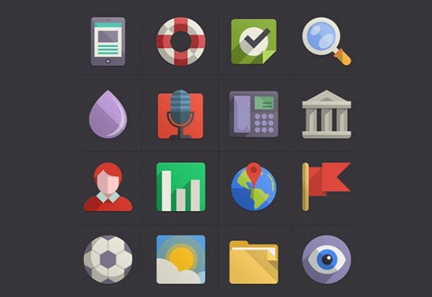 Plano colorido conjunto de iconos psd