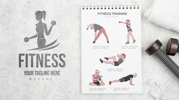 Plano de cuaderno de ejercicios con pesas