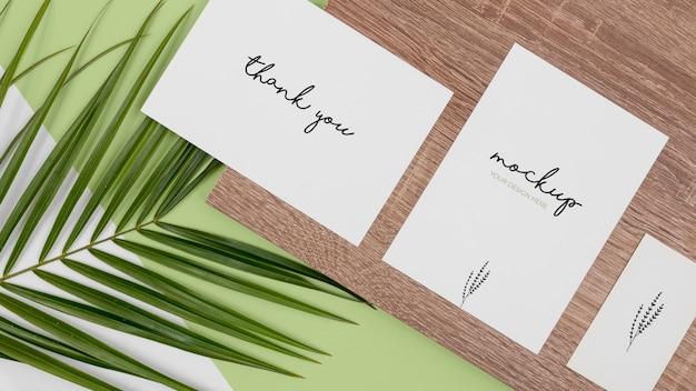 Plant, briefpapier en hout plat
