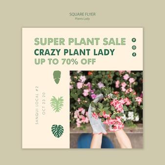 Plant dame vierkante flyer stijl