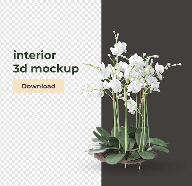 Plant in het renderen van decoratie en interieurontwerp