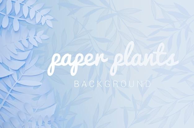 Planta de papel azul claro monocromo deja fondo